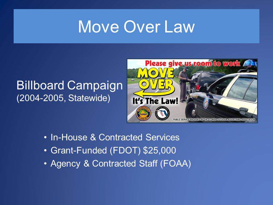 Move Over Law Direct DL Renewal Mail-Outs (2006-, Statewide, On-Going) In-House & Contracted Services Minimal Cost, Labor