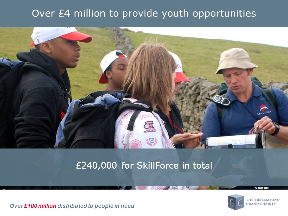 Over £100 million distributed to people in need Over £4 million to provide youth opportunities £240,000 for SkillForce in total © SkillForce