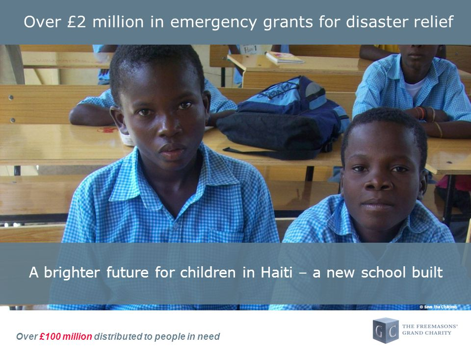 Over £100 million distributed to people in need Over £2 million in emergency grants for disaster relief © Save the Children A brighter future for children in Haiti – a new school built