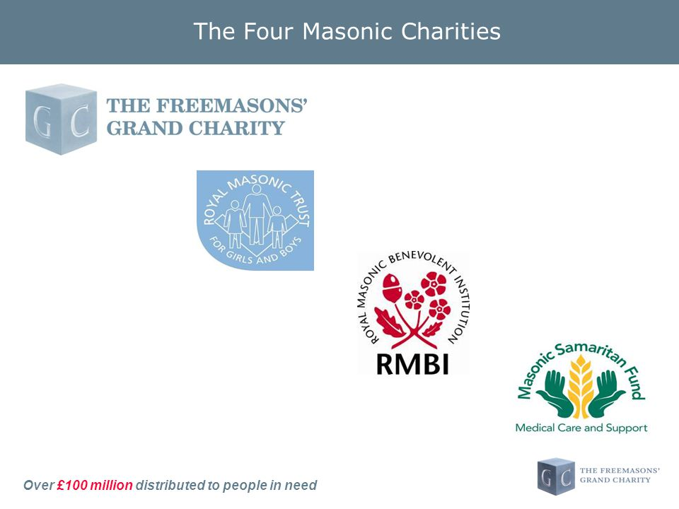 Over £100 million distributed to people in need The Four Masonic Charities