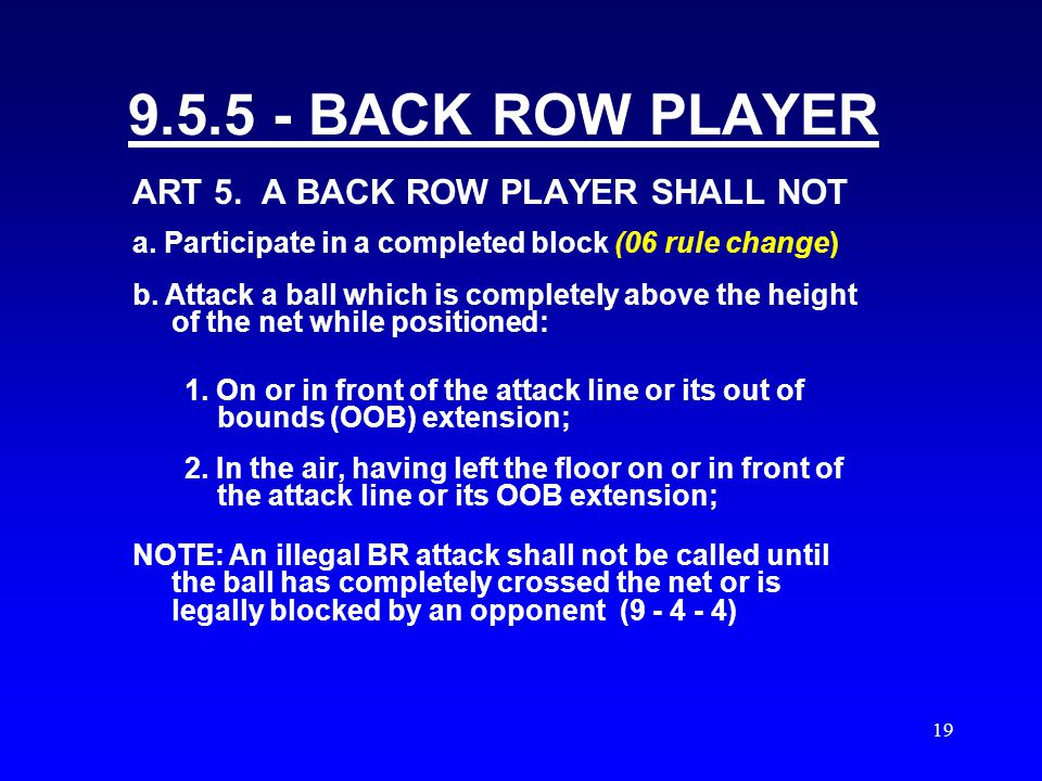 18 BACK ROW PLAYER SITUATIONS