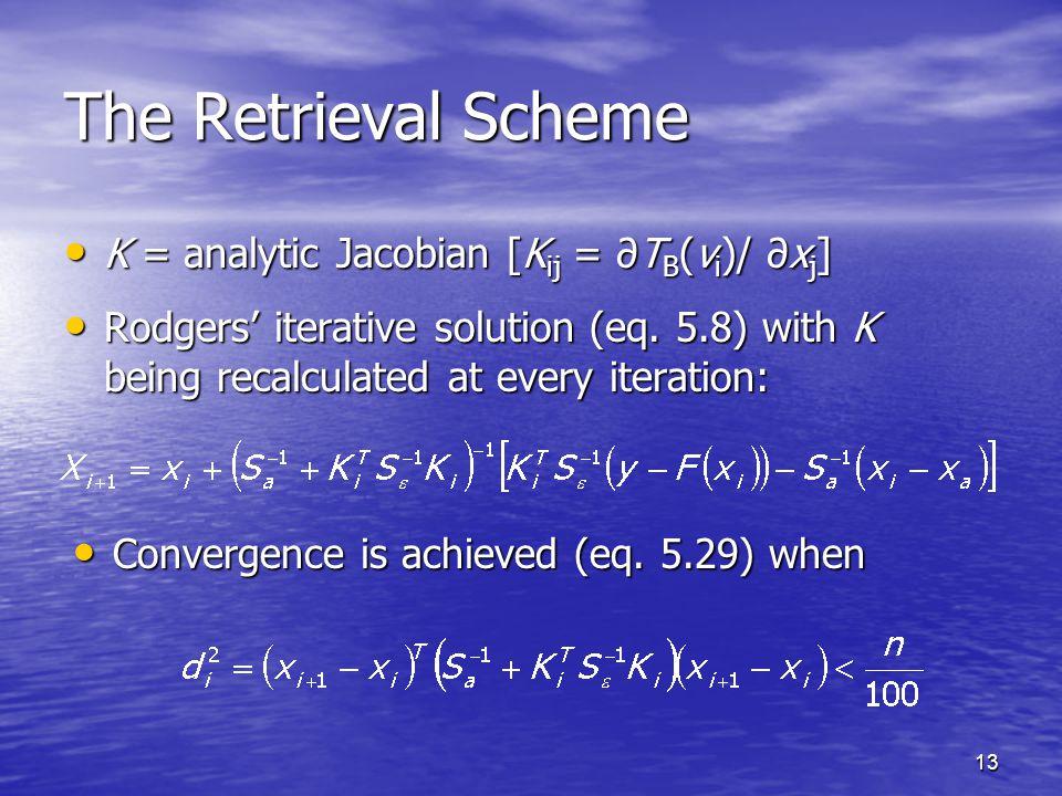 13 The Retrieval Scheme K = analytic Jacobian [K ij = ∂T B (ν i )/ ∂x j ] K = analytic Jacobian [K ij = ∂T B (ν i )/ ∂x j ] Rodgers' iterative solution (eq.