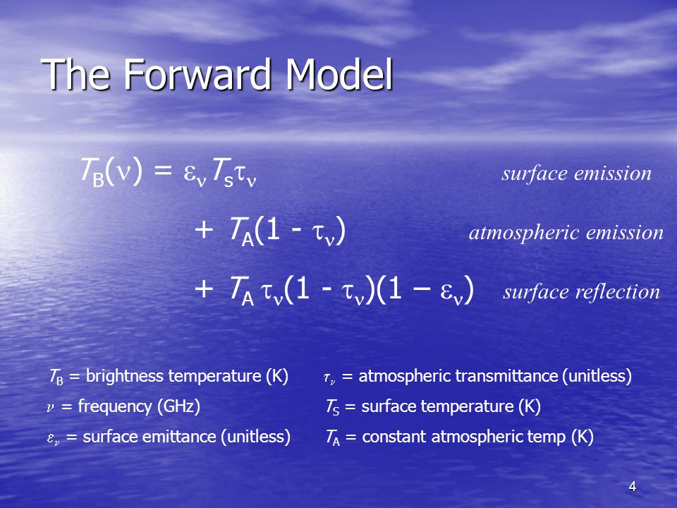 4 The Forward Model T B ( ) =  T s  surface emission + T A (1 -  ) atmospheric emission + T A  (1 -  )(1 –  ) surface reflection T B = brightness temperature (K) = frequency (GHz)  = surface emittance (unitless)  = atmospheric transmittance (unitless) T S = surface temperature (K) T A = constant atmospheric temp (K)