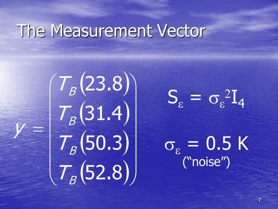 7 The Measurement Vector S  =    I 4   = 0.5 K ( noise )