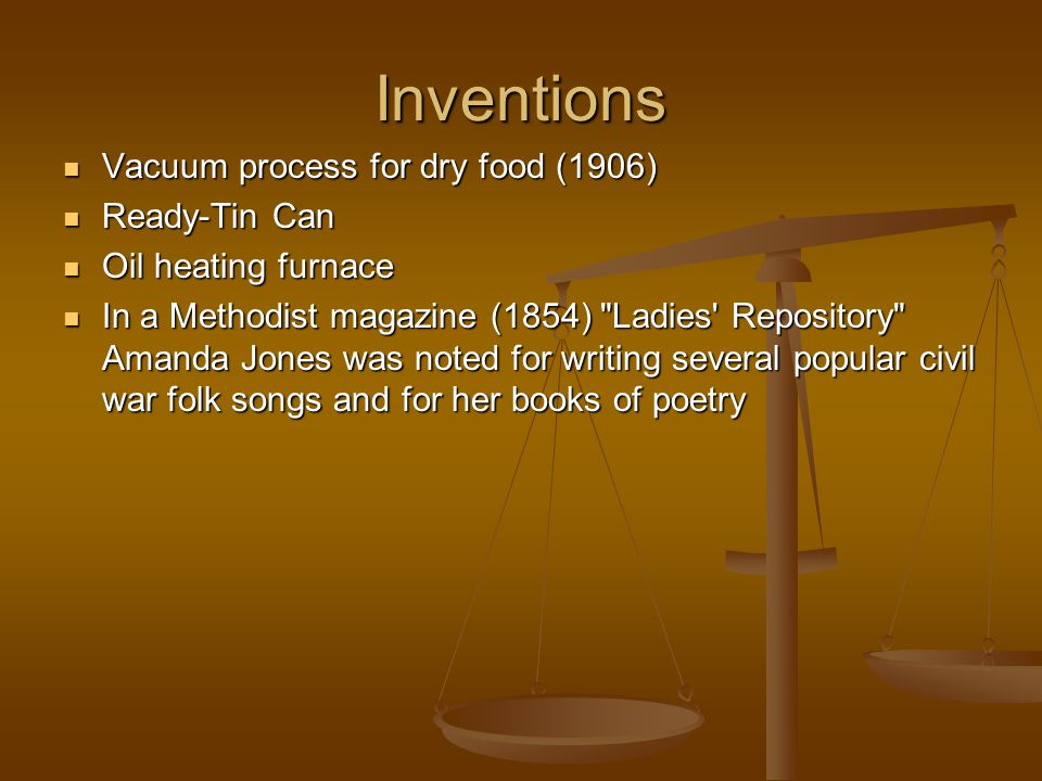 Inventions Vacuum process for dry food (1906) Vacuum process for dry food (1906) Ready-Tin Can Ready-Tin Can Oil heating furnace Oil heating furnace I
