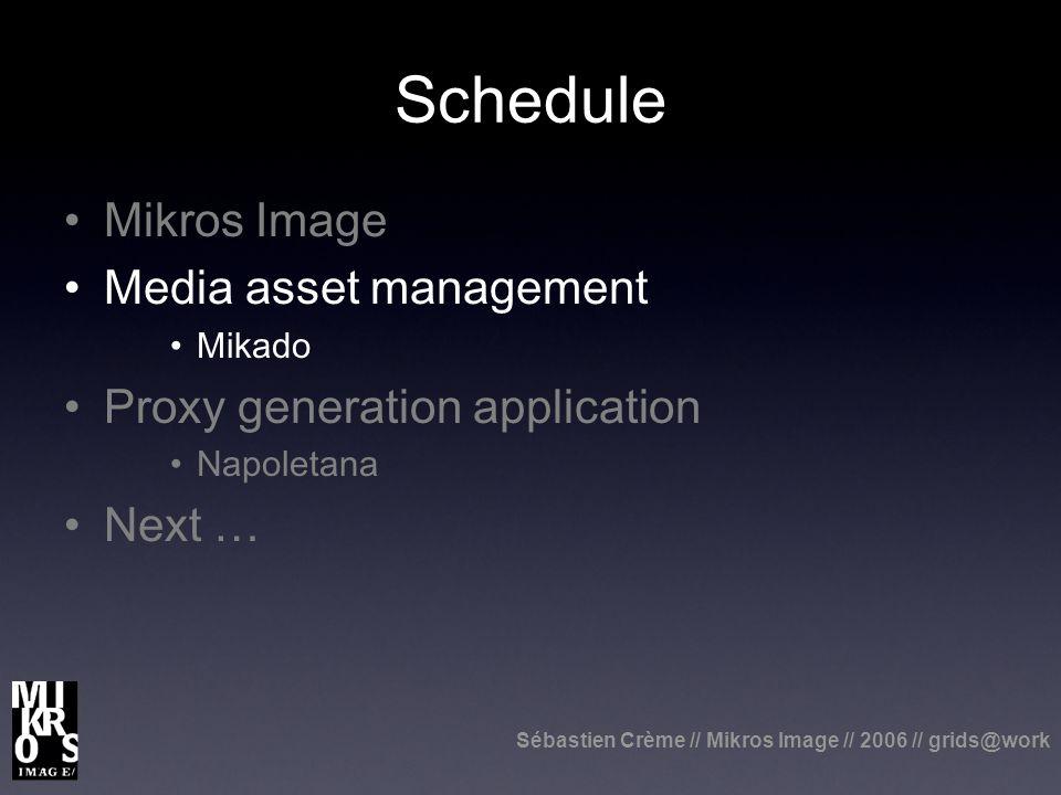 Sébastien Crème // Mikros Image // 2006 // grids@work Schedule Mikros Image Media asset management Mikado Proxy generation application Napoletana Next …