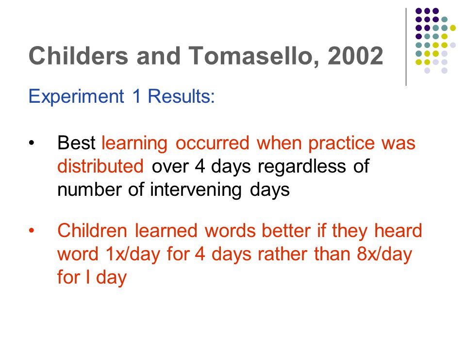Childers and Tomasello, 2002 Experiment 1 Results: Best learning occurred when practice was distributed over 4 days regardless of number of intervening days Children learned words better if they heard word 1x/day for 4 days rather than 8x/day for I day