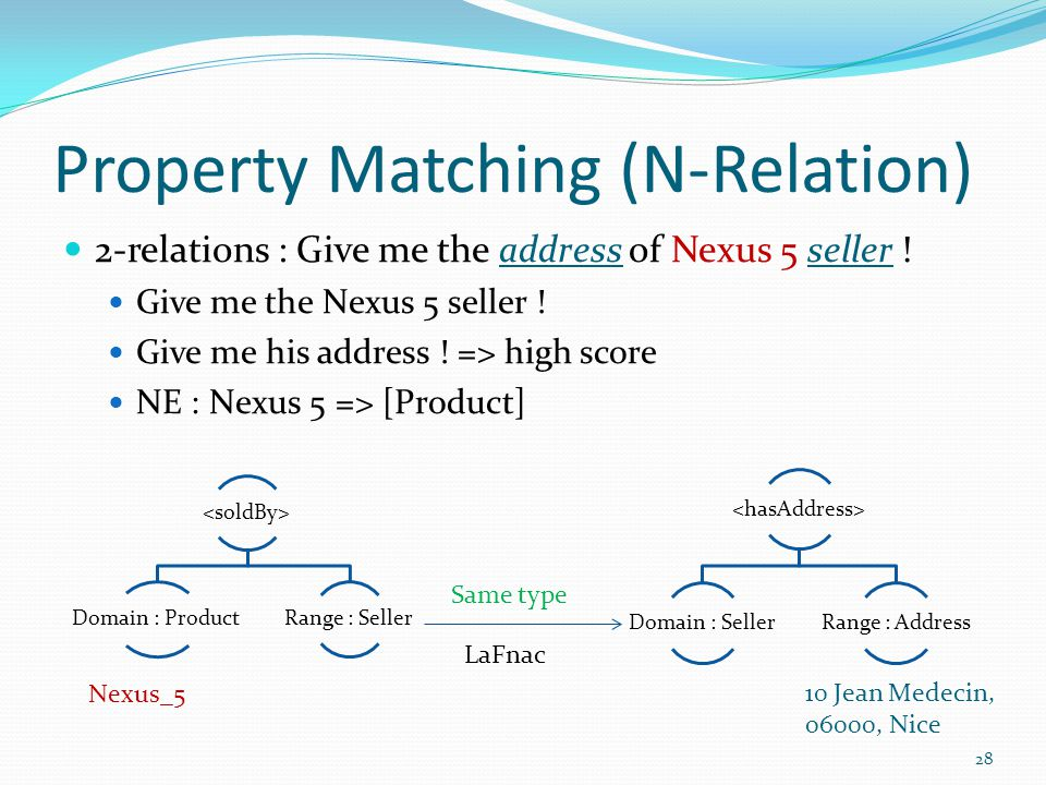 Property Matching (N-Relation) 28 2-relations : Give me the address of Nexus 5 seller .