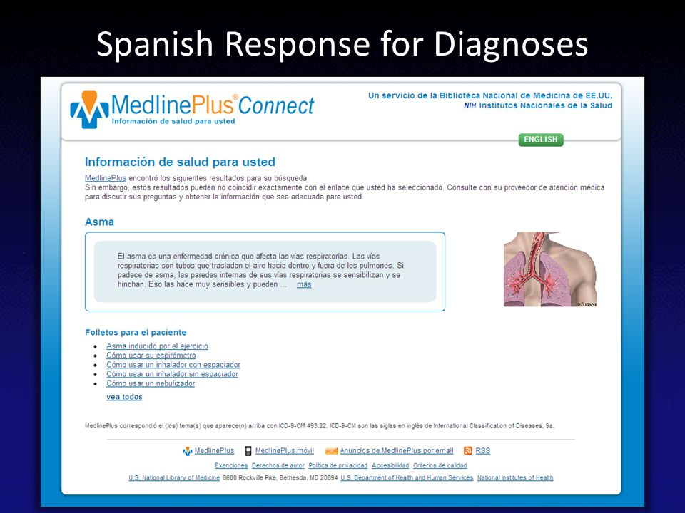 Spanish Response for Diagnoses