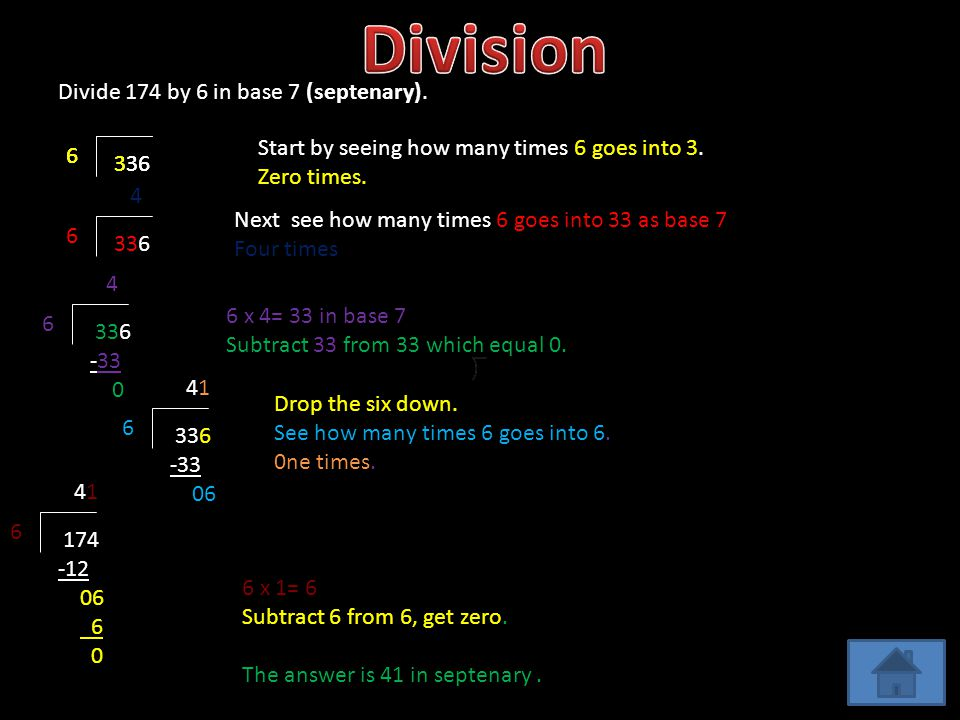 Divide 174 by 6 in base 7 (septenary).336 6 6 Start by seeing how many times 6 goes into 3.