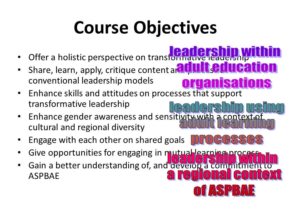 Course Objectives Offer a holistic perspective on transformative leadership Share, learn, apply, critique content and process of conventional leadership models Enhance skills and attitudes on processes that support transformative leadership Enhance gender awareness and sensitivity with a context of cultural and regional diversity Engage with each other on shared goals Give opportunities for engaging in mutual learning process Gain a better understanding of, and develop a commitment to ASPBAE
