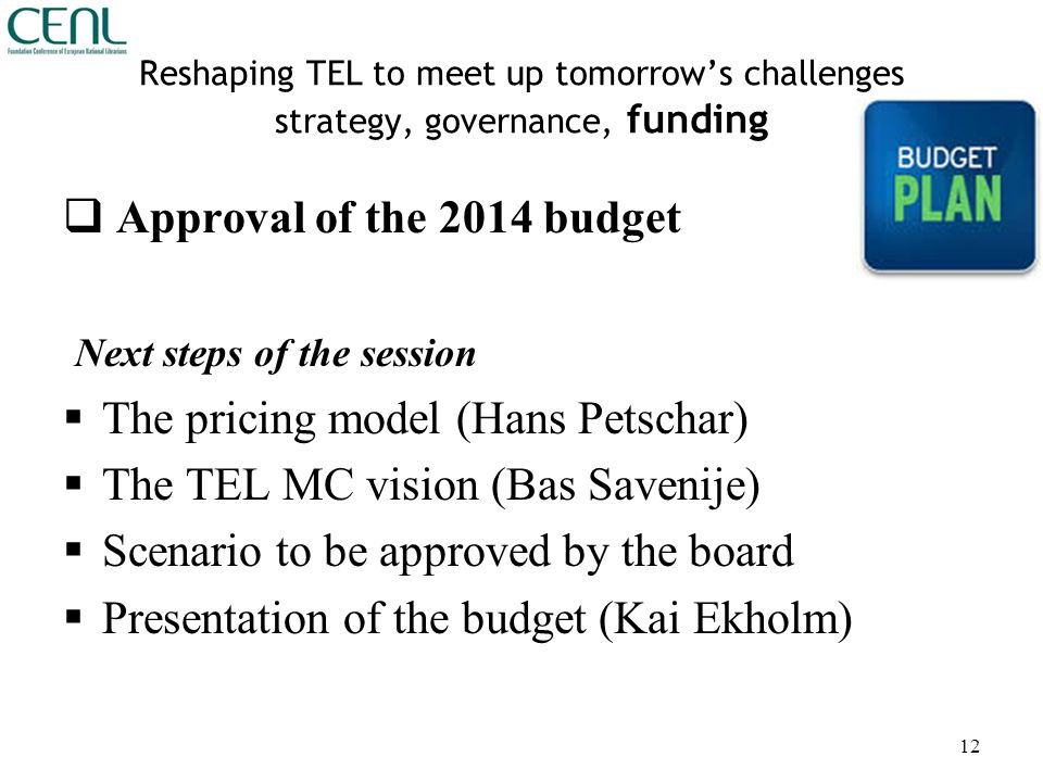Reshaping TEL to meet up tomorrow's challenges strategy, governance, funding  Approval of the 2014 budget Next steps of the session  The pricing model (Hans Petschar)  The TEL MC vision (Bas Savenije)  Scenario to be approved by the board  Presentation of the budget (Kai Ekholm) 12