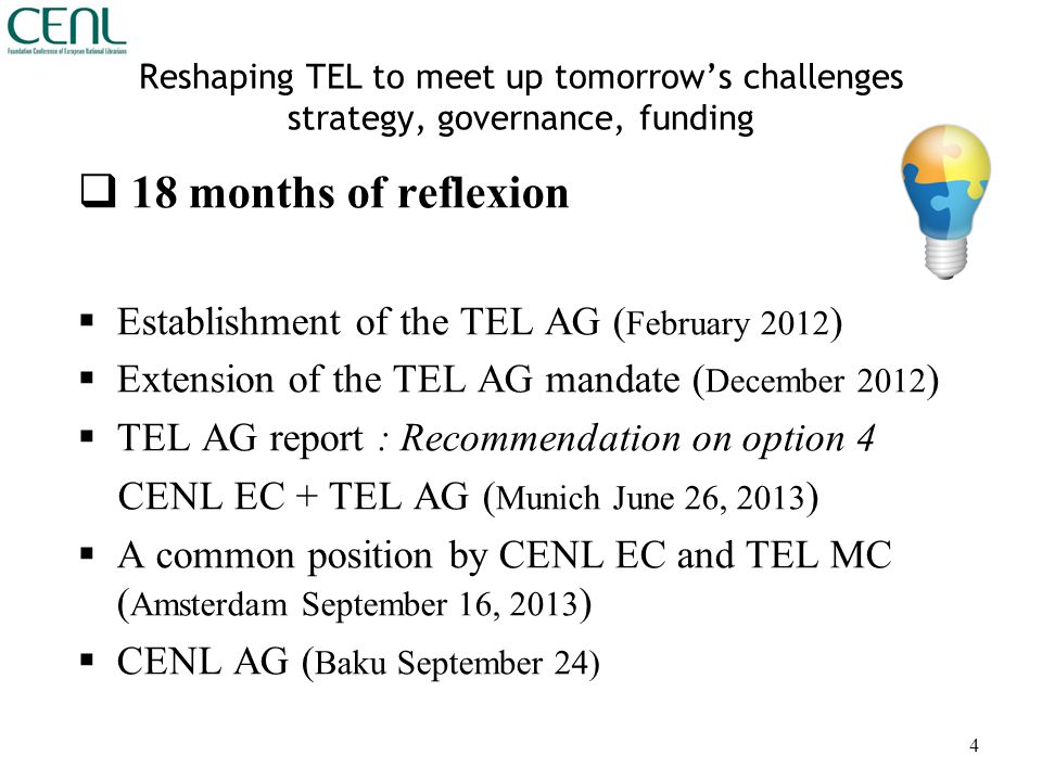 Reshaping TEL to meet up tomorrow's challenges strategy, governance, funding  18 months of reflexion  Establishment of the TEL AG ( February 2012 )  Extension of the TEL AG mandate ( December 2012 )  TEL AG report : Recommendation on option 4 CENL EC + TEL AG ( Munich June 26, 2013 )  A common position by CENL EC and TEL MC ( Amsterdam September 16, 2013 )  CENL AG ( Baku September 24) 4
