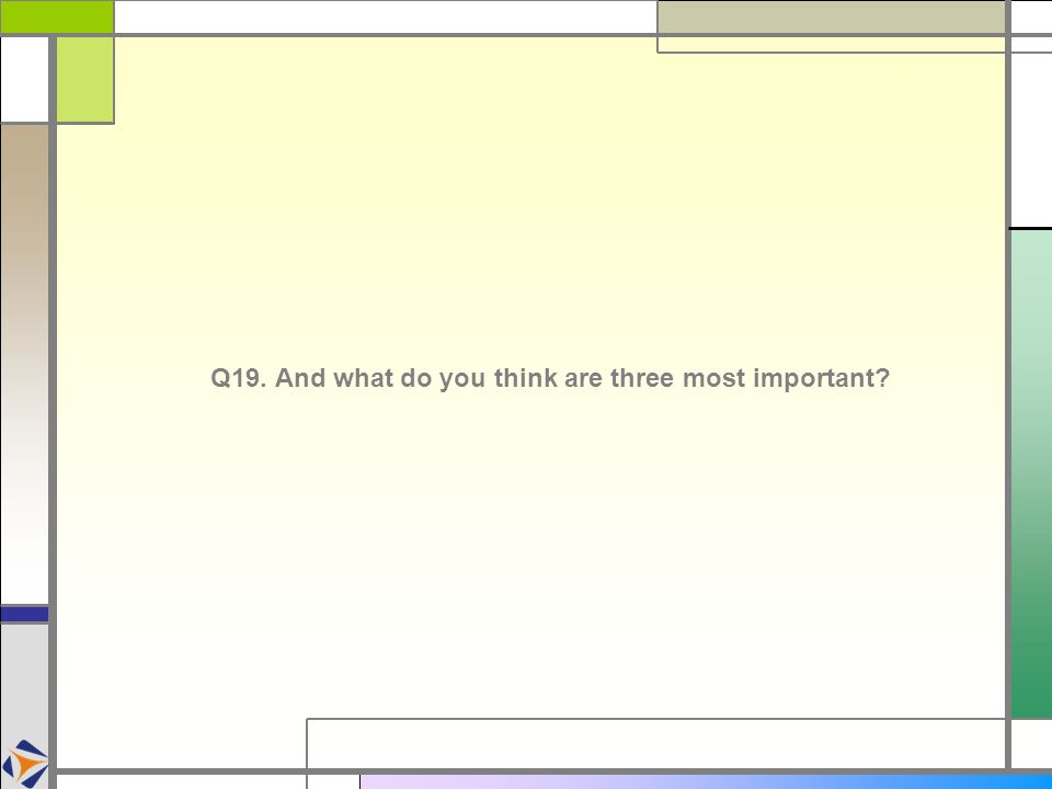 Q19. And what do you think are three most important
