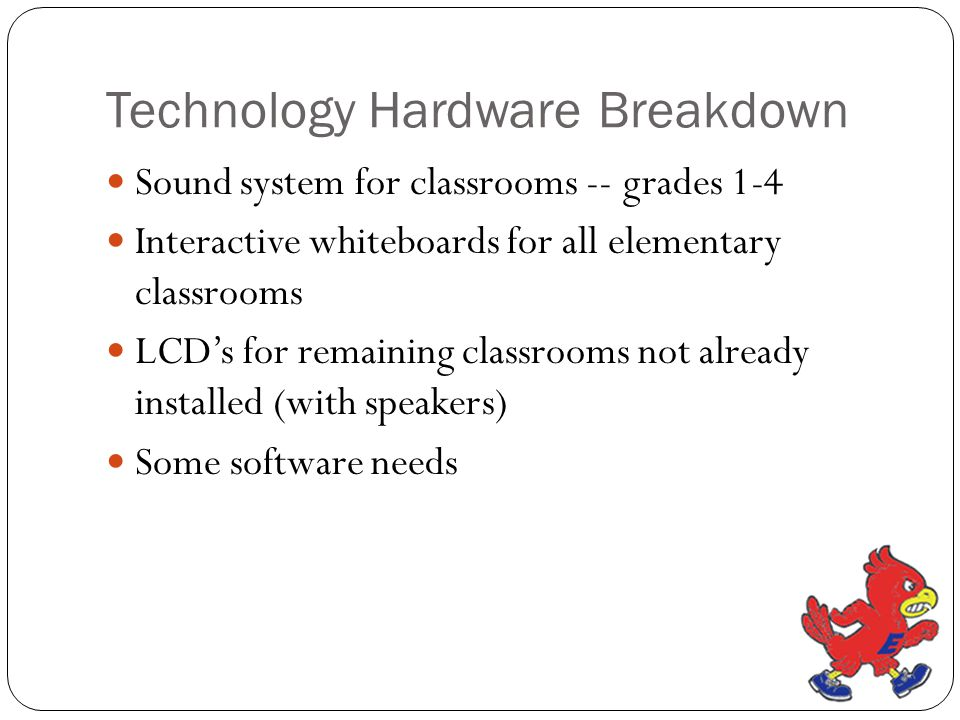 Technology Hardware Breakdown Sound system for classrooms -- grades 1-4 Interactive whiteboards for all elementary classrooms LCD's for remaining clas