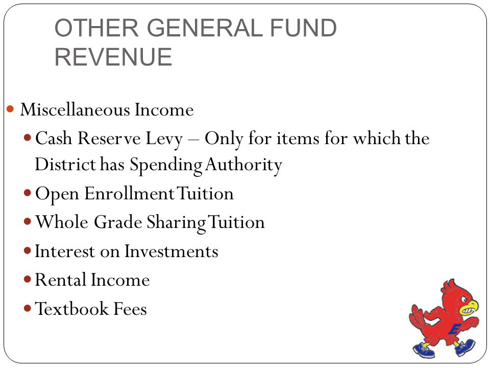 OTHER GENERAL FUND REVENUE Miscellaneous Income Cash Reserve Levy – Only for items for which the District has Spending Authority Open Enrollment Tuition Whole Grade Sharing Tuition Interest on Investments Rental Income Textbook Fees