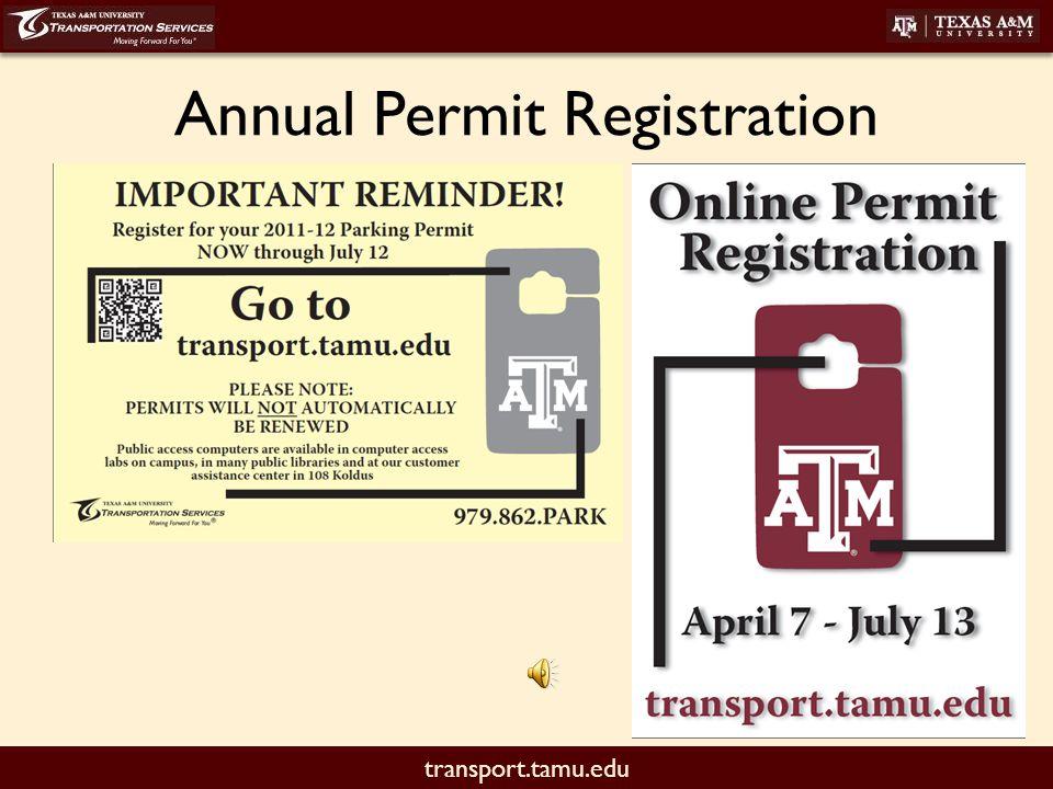 transport.tamu.edu Annual Permit Registration