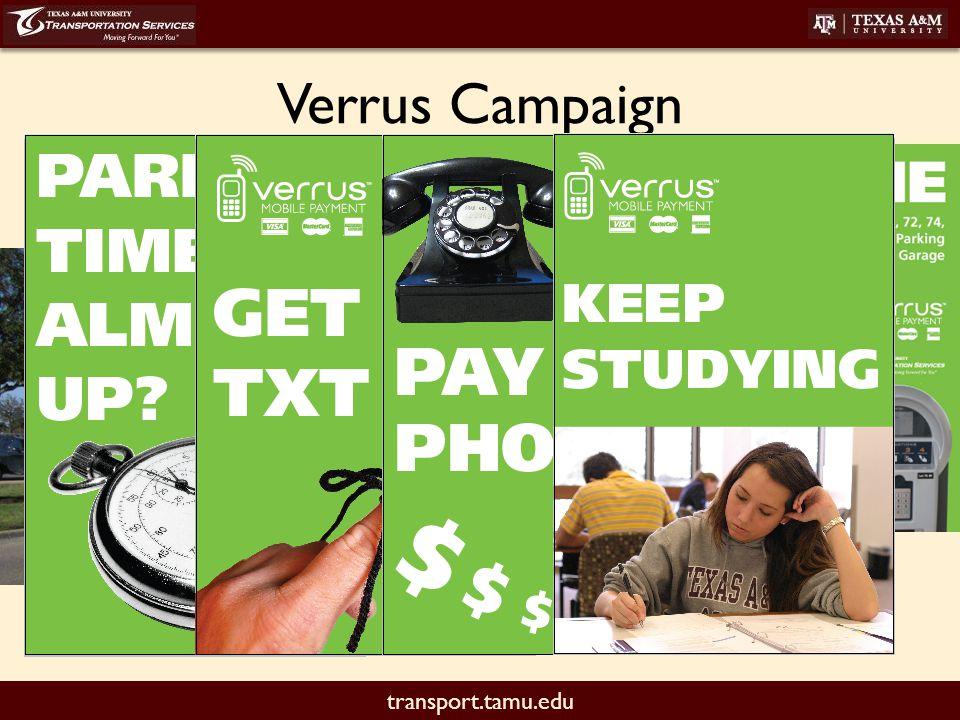 transport.tamu.edu Verrus Campaign