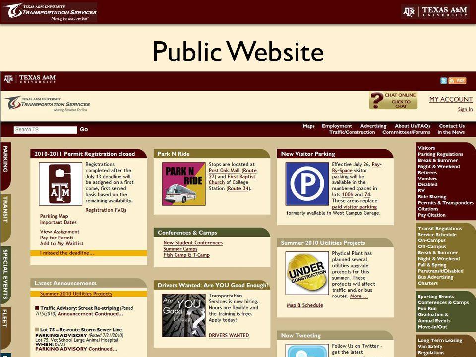 transport.tamu.edu Public Website