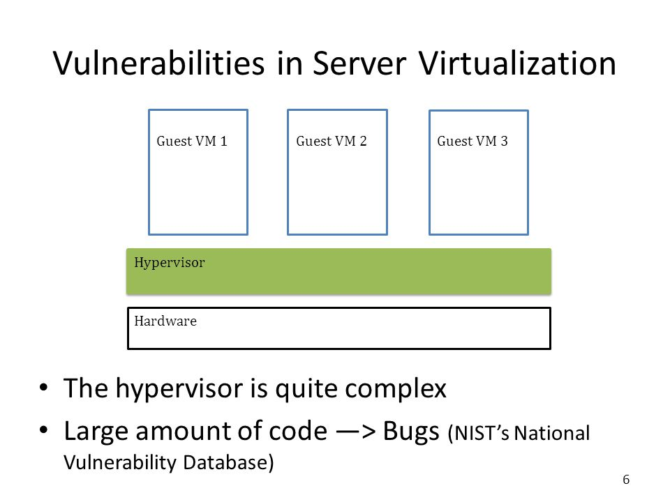 Guest VM 2Guest VM 3 Hardware Hypervisor Guest VM 1 Vulnerabilities in Server Virtualization The hypervisor is quite complex Large amount of code ―> Bugs (NIST's National Vulnerability Database) 6