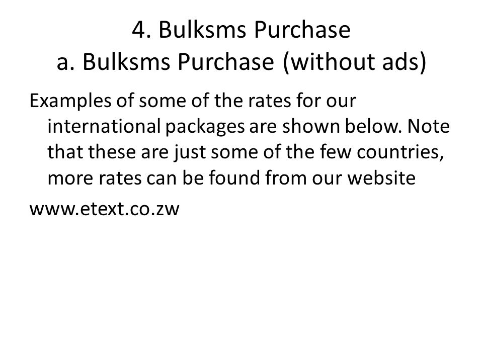 4. Bulksms Purchase a.
