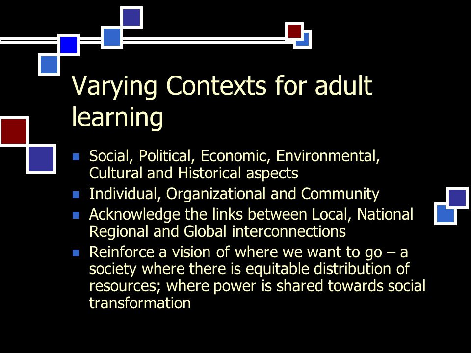 Varying Contexts for adult learning Social, Political, Economic, Environmental, Cultural and Historical aspects Individual, Organizational and Community Acknowledge the links between Local, National Regional and Global interconnections Reinforce a vision of where we want to go – a society where there is equitable distribution of resources; where power is shared towards social transformation