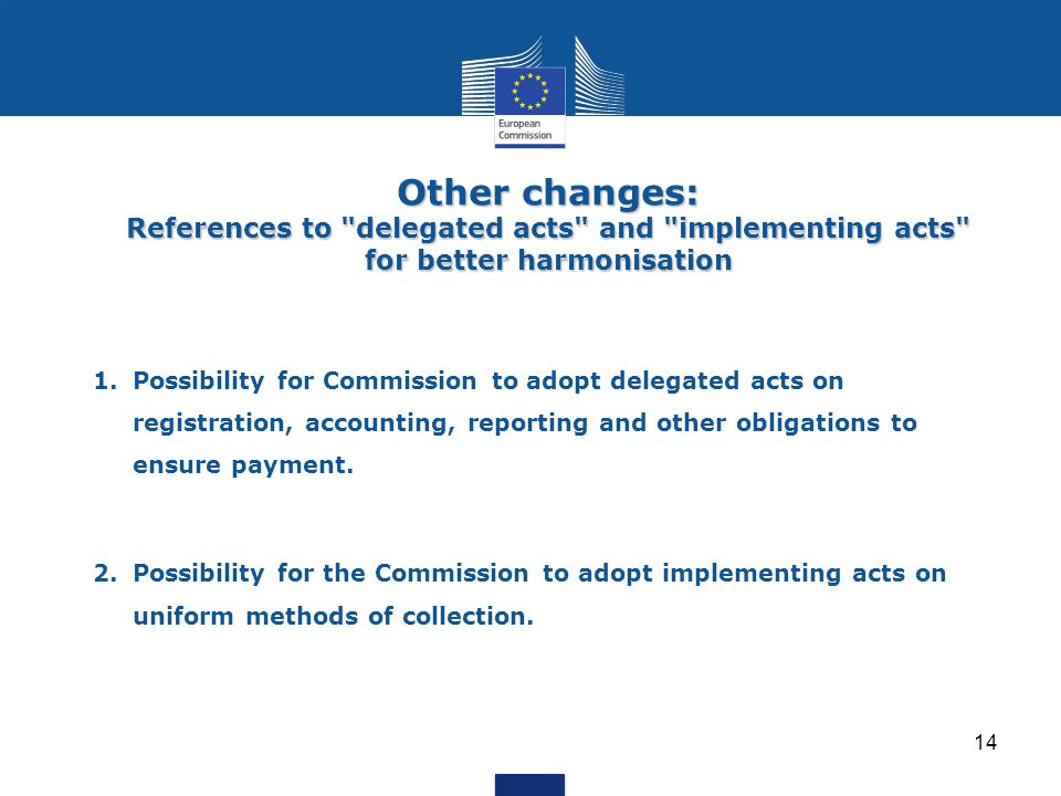 1.Possibility for Commission to adopt delegated acts on registration, accounting, reporting and other obligations to ensure payment.
