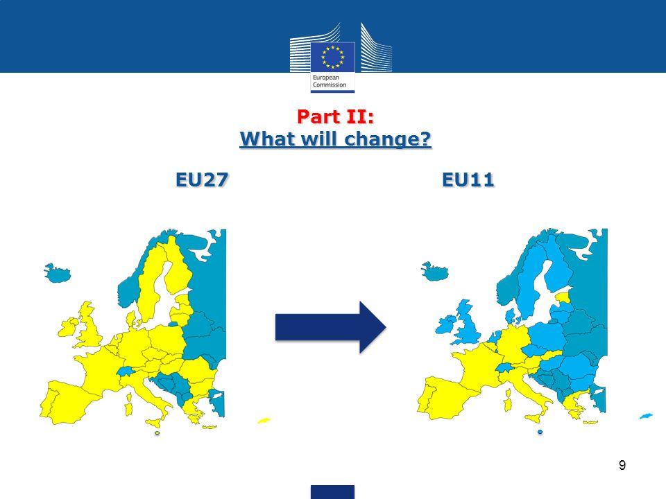 Part II: What will change? EU27EU11 9
