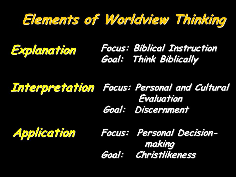 Elements of Worldview Thinking Explanation Interpretation Application Focus: Biblical Instruction Goal: Think Biblically Focus: Personal and Cultural Evaluation Evaluation Goal: Discernment Focus: Personal Decision- making making Goal: Christlikeness