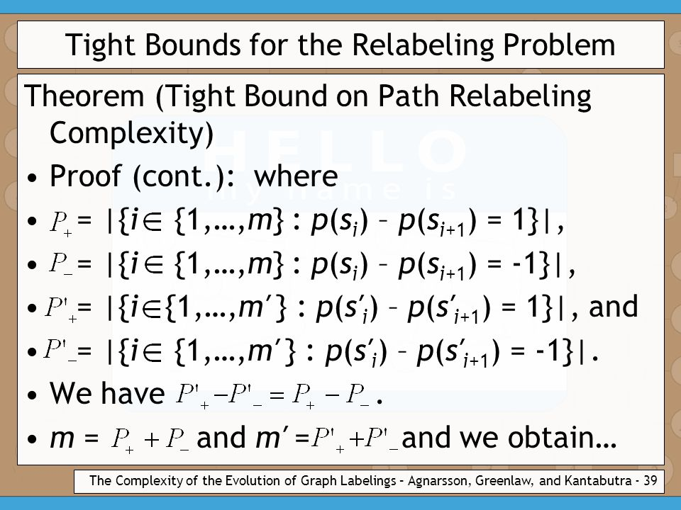 The Complexity of the Evolution of Graph Labelings – Agnarsson, Greenlaw, and Kantabutra - 39 Tight Bounds for the Relabeling Problem Theorem (Tight Bound on Path Relabeling Complexity) Proof (cont.): where = |{i {1,…,m} : p(s i ) – p(s i+1 ) = 1}|, = |{i {1,…,m} : p(s i ) – p(s i+1 ) = -1}|, = |{i {1,…,m′ } : p(s′ i ) – p(s′ i+1 ) = 1}|, and = |{i {1,…,m′ } : p(s′ i ) – p(s′ i+1 ) = -1}|.
