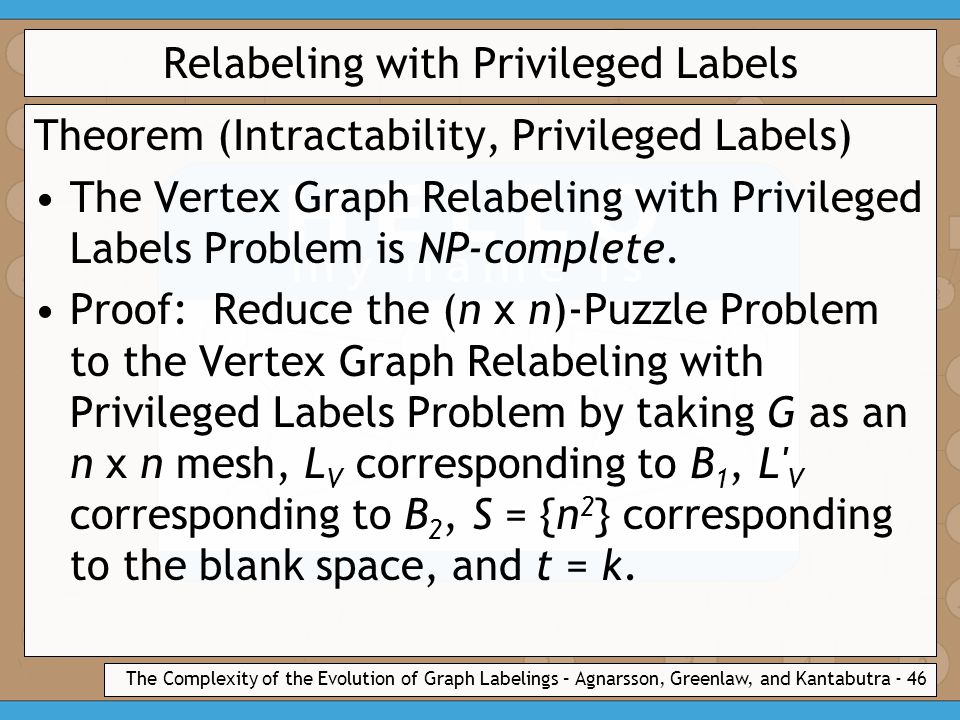 The Complexity of the Evolution of Graph Labelings – Agnarsson, Greenlaw, and Kantabutra - 46 Relabeling with Privileged Labels Theorem (Intractability, Privileged Labels) The Vertex Graph Relabeling with Privileged Labels Problem is NP-complete.