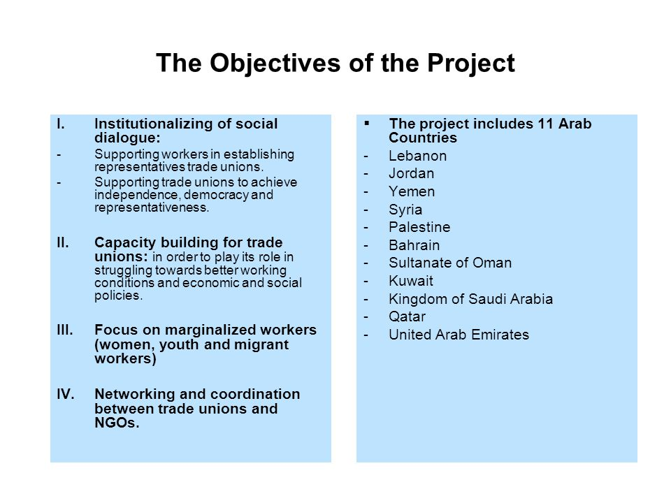 The Objectives of the Project  The project includes 11 Arab Countries -Lebanon -Jordan -Yemen -Syria -Palestine -Bahrain -Sultanate of Oman -Kuwait -Kingdom of Saudi Arabia -Qatar -United Arab Emirates I.Institutionalizing of social dialogue: -Supporting workers in establishing representatives trade unions.