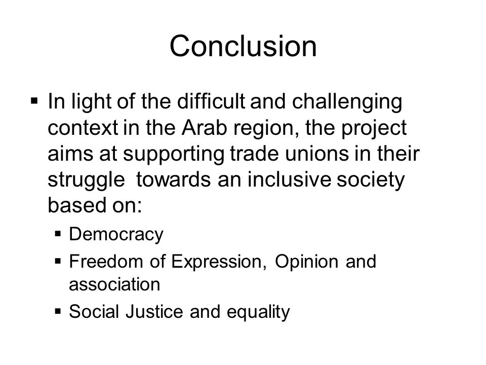 Conclusion  In light of the difficult and challenging context in the Arab region, the project aims at supporting trade unions in their struggle towards an inclusive society based on:  Democracy  Freedom of Expression, Opinion and association  Social Justice and equality