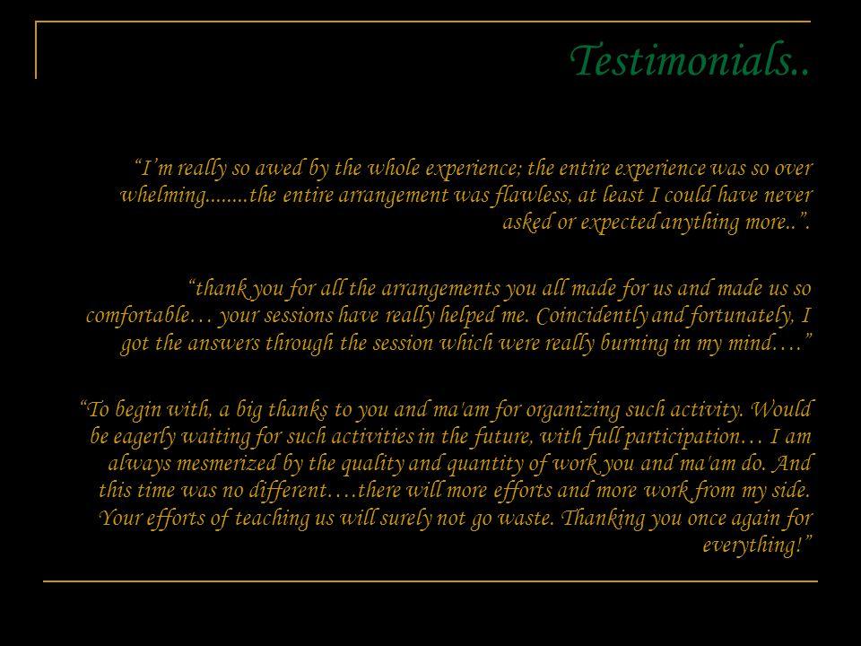 Testimonials..