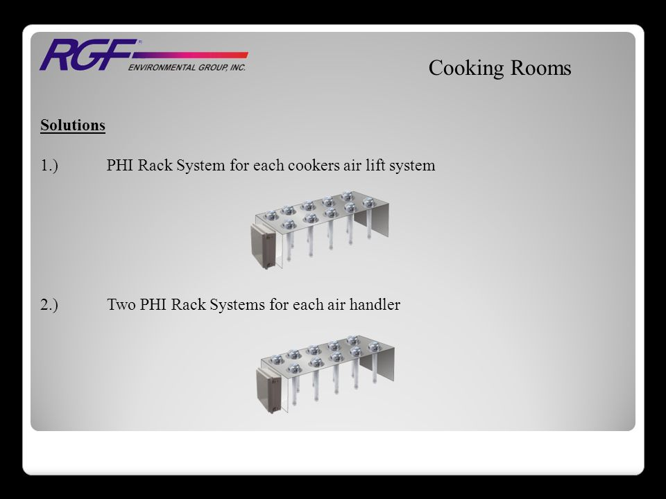 Solutions 1.)PHI Rack System for each cookers air lift system 2.)Two PHI Rack Systems for each air handler