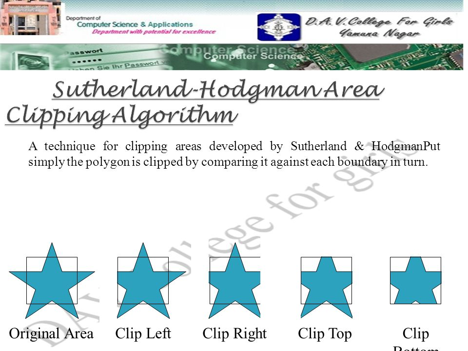 A technique for clipping areas developed by Sutherland & HodgmanPut simply the polygon is clipped by comparing it against each boundary in turn.