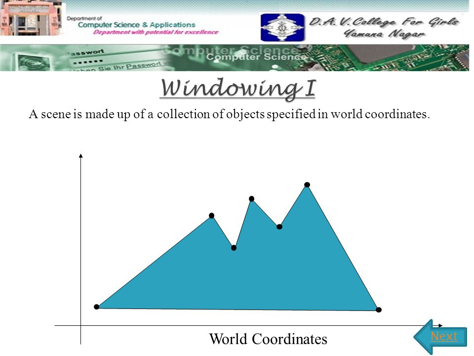 A scene is made up of a collection of objects specified in world coordinates.