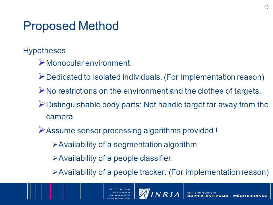 13 Proposed Method Hypotheses  Monocular environment.