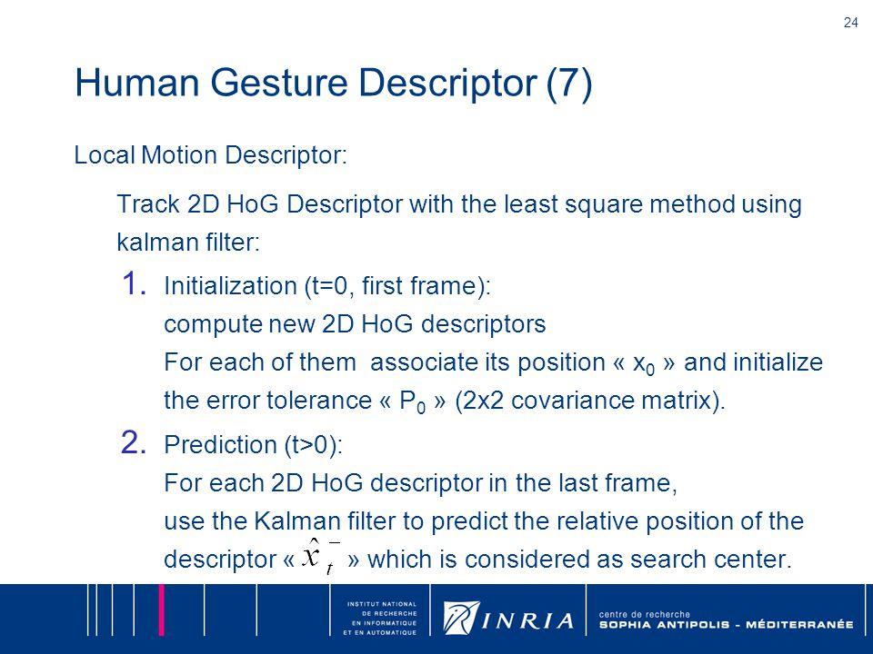 24 Human Gesture Descriptor (7) Local Motion Descriptor: Track 2D HoG Descriptor with the least square method using kalman filter: 1.