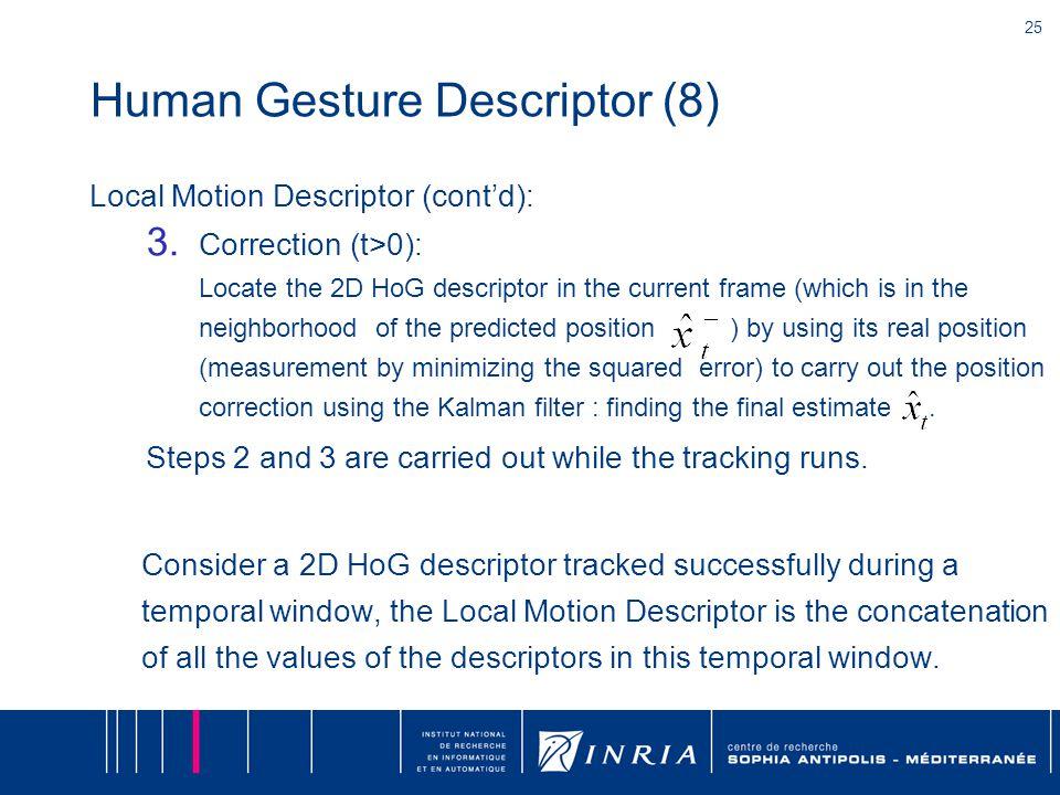 25 Human Gesture Descriptor (8) Local Motion Descriptor (cont'd): 3.