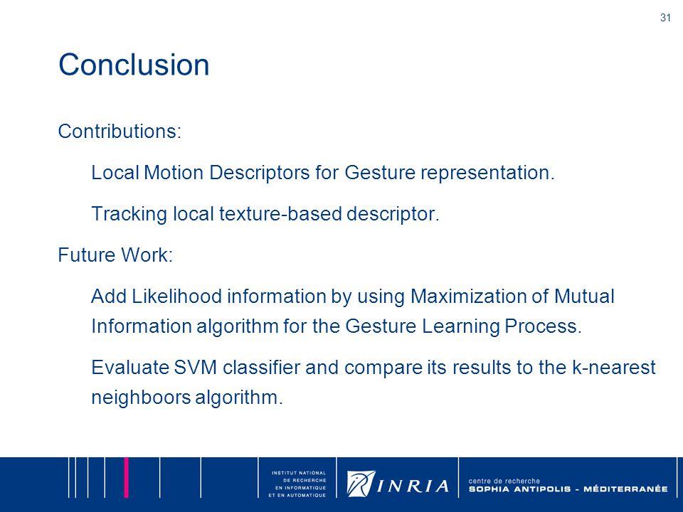 31 Conclusion Contributions: Local Motion Descriptors for Gesture representation.