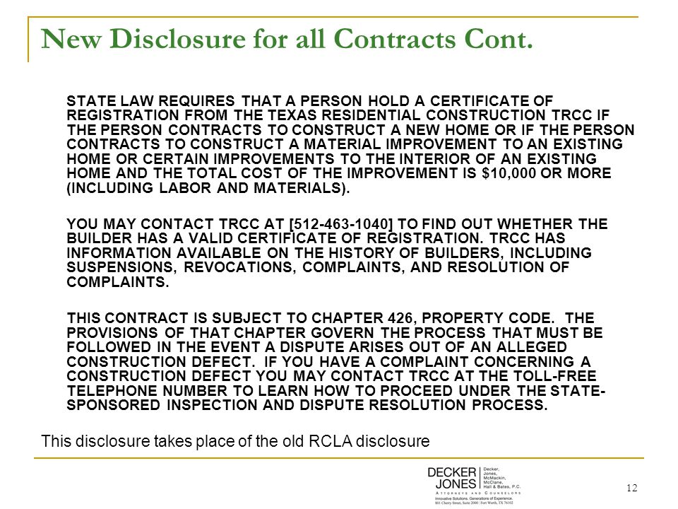 12 New Disclosure for all Contracts Cont.