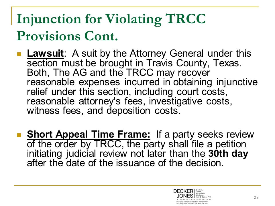 28 Injunction for Violating TRCC Provisions Cont.