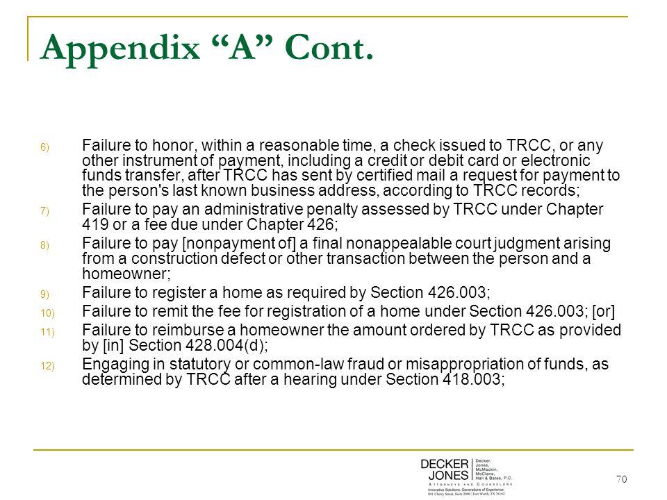 70 Appendix A Cont.