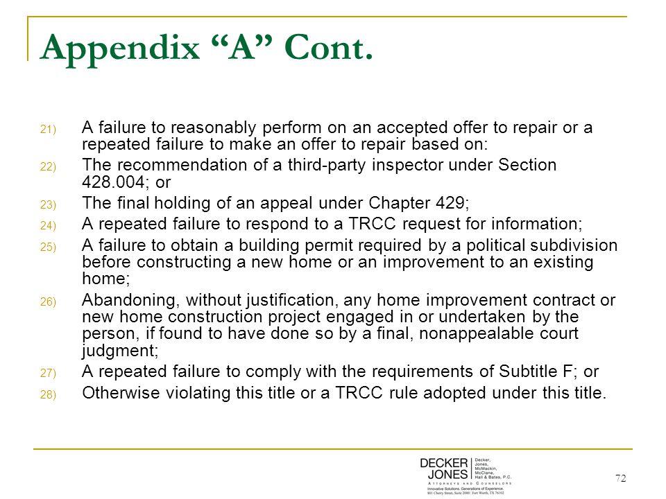 72 Appendix A Cont.