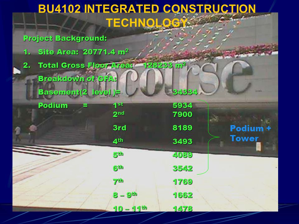 BU4102 INTEGRATED CONSTRUCTION TECHNOLOGY Project Background: 1.Site Area:20771.4 m 2 2.Total Gross Floor Area:128233 m 2 Breakdown of GFA: Basement(2 level)= 34334 Podium=1 st 5934 2 nd 7900 3rd8189 4 th 3493 5 th 4089 6 th 3542 7 th 1769 8 – 9 th 1662 10 – 11 th 1478 Podium + Tower