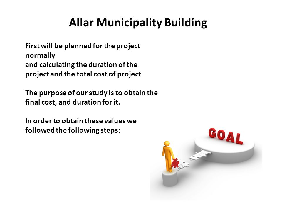 Allar Municipality Building First will be planned for the project normally and calculating the duration of the project and the total cost of project The purpose of our study is to obtain the final cost, and duration for it.