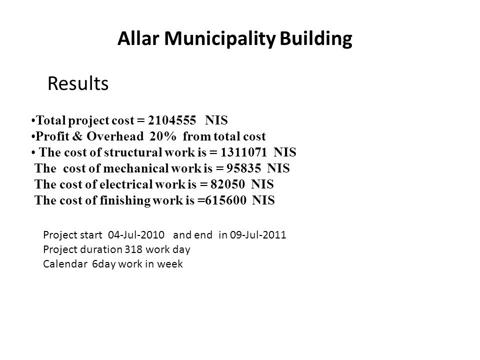 Allar Municipality Building Total project cost = NIS Profit & Overhead 20% from total cost The cost of structural work is = NIS The cost of mechanical work is = NIS The cost of electrical work is = NIS The cost of finishing work is = NIS Project start 04-Jul-2010 and end in 09-Jul-2011 Project duration 318 work day Calendar 6day work in week Results