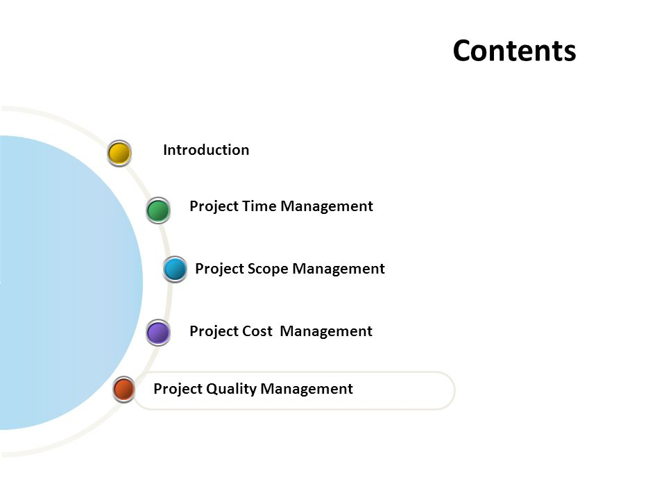 Contents Project Time Management Project Quality Management Introduction Project Scope Management Project Cost Management