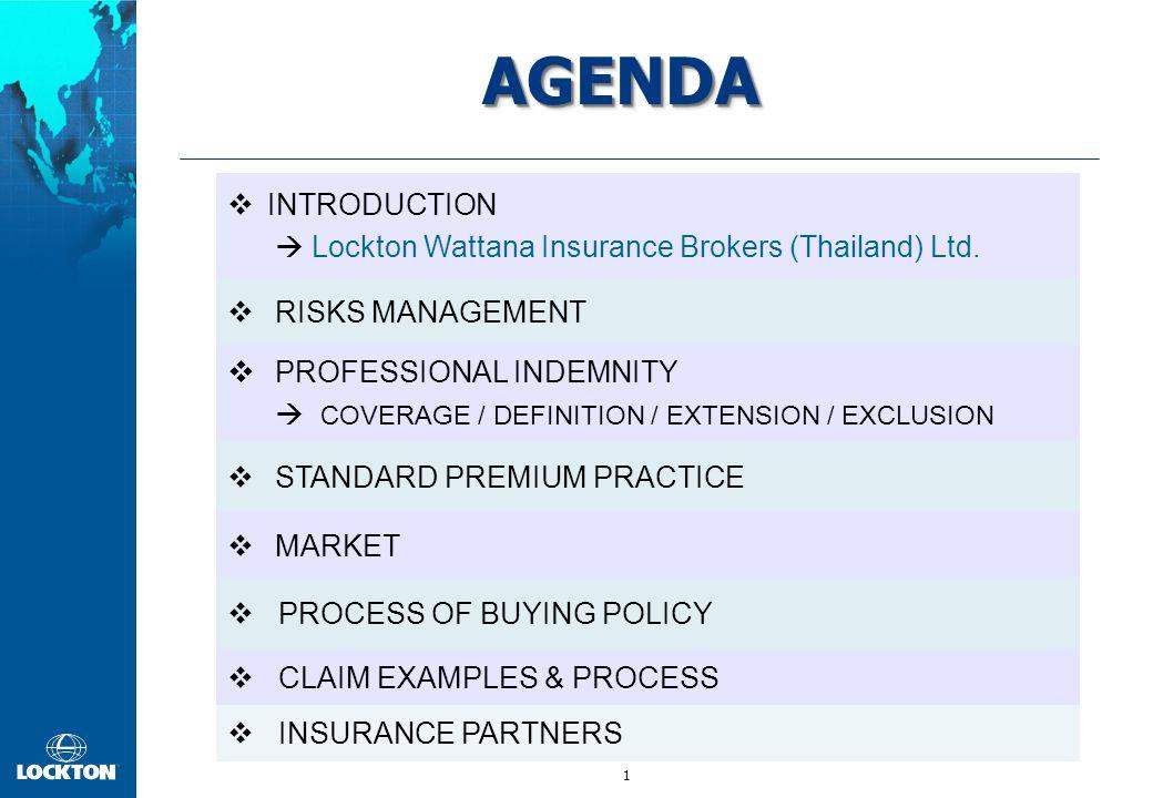1 AGENDAAGENDA  INTRODUCTION  Lockton Wattana Insurance Brokers (Thailand) Ltd.  RISKS MANAGEMENT  PROFESSIONAL INDEMNITY  COVERAGE / DEFINITION